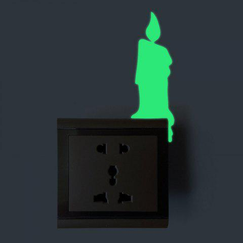 Sale Fluorescent Candle Shape Switch Wall Sticker - GREEN  Mobile