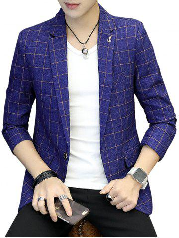 Online One Button Metal Detail Checked Blazer - 3XL BLUE Mobile