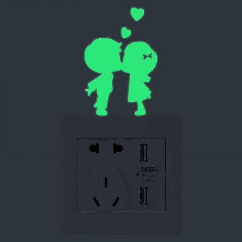 Shop Couples Shape Switch Luminous Wall Stickers - GREEN  Mobile