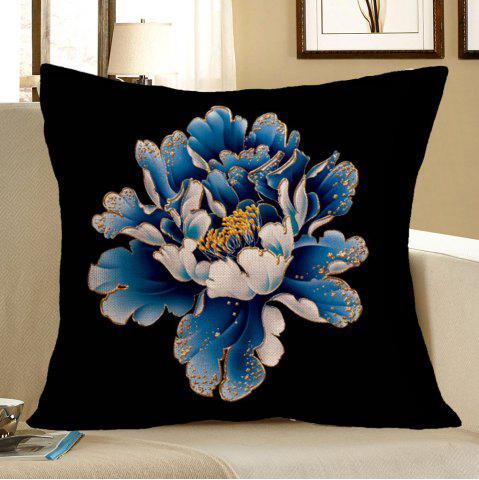 Peony Flower Pattern Square Pillow Case - Blue And Black - W18 Inch * L18 Inch