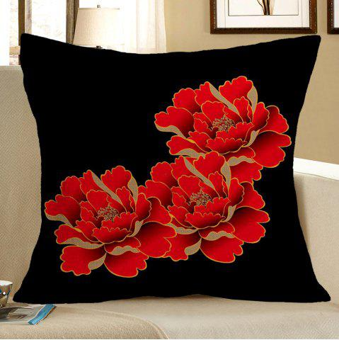 Red Peony Pattern Square Decorative Pillow Case - Red With Black - W18 Inch * L18 Inch