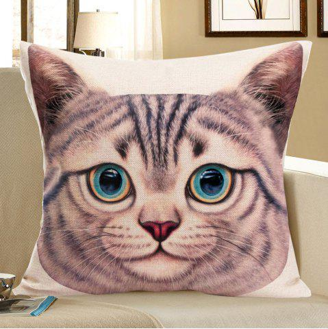 Online Cat Head Printed Square Decorative Pillow Case - W18 INCH * L18 INCH SANDY BEIGE Mobile