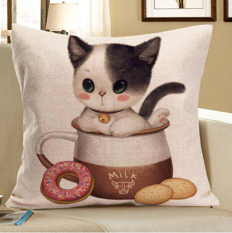 Cat Enjoying Food Print Throw Pillow Case Gris