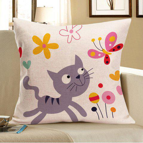 Cat Catching Butterfly Print Pillow Case - Colorful - W18 Inch * L18 Inch