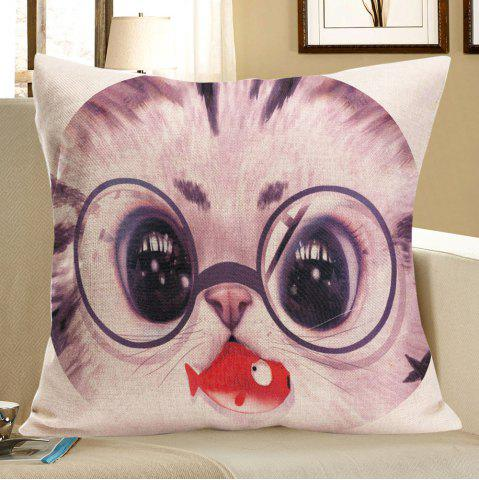 Shop Cat With Glasses Eating Fish Print Pillow Case GRAY W18 INCH * L18 INCH