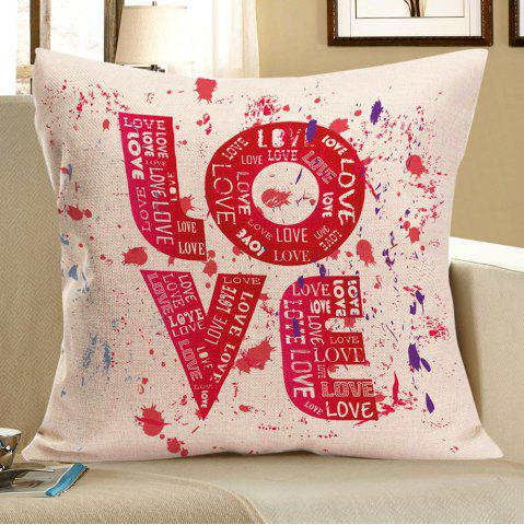 Love Tie Dye Printed Square Pillow Case - Red - W18 Inch * L18 Inch