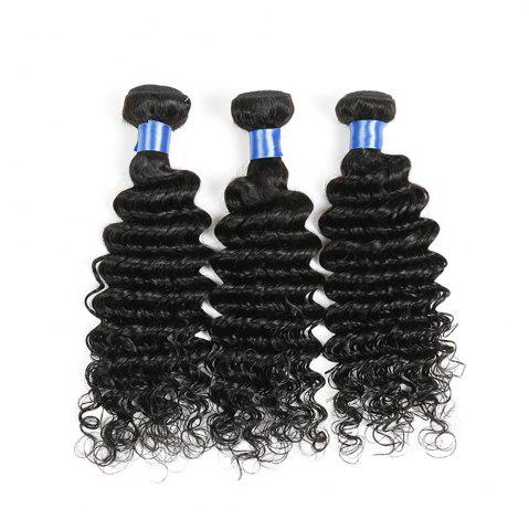 Sale 1Pc Indian Long Deep Wave Human Hair Weave - 22INCH NATURAL BLACK Mobile