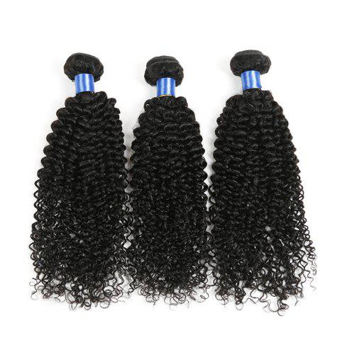 Hot 1Pc Long Jerry Curl Indian Human Hair Weave NATURAL BLACK 16INCH