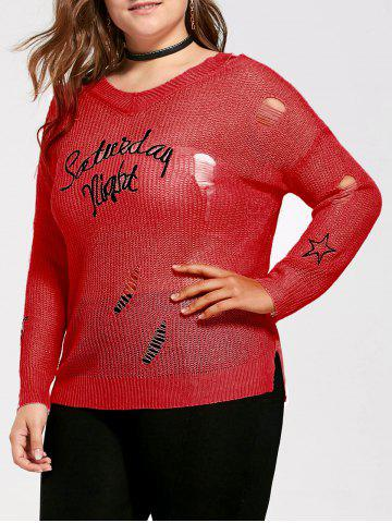 Plus Size Graphic Ripped Sheer Crochet Sweater - Red - One Size