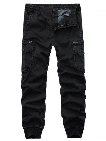 Drawstring Zipper Fly Beam Feet Cargo Pants - Black - 38