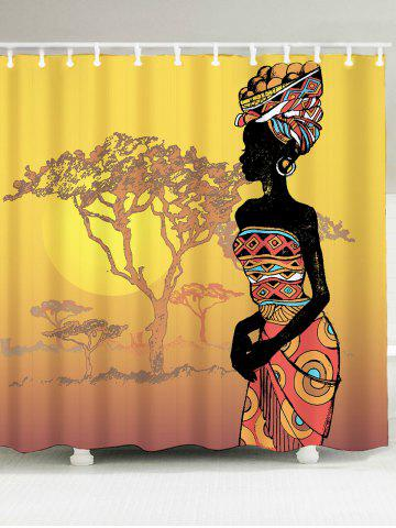 Waterproof African Lady Printed Shower Curtain - Colormix - W79 Inch * L71 Inch
