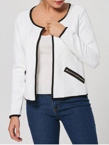 New Stylish Scoop Neck Long Sleeve Embossed Jacket For Women