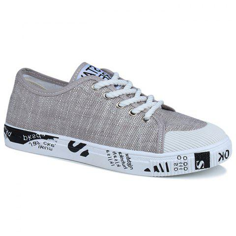 Best Tie Up Letter Print Casual Shoes - 40 KHAKI Mobile
