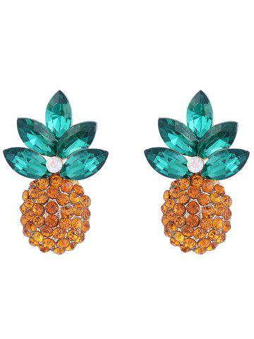 Pineapple Design Faux Crystal Inlaid Stud Earrings - Golden