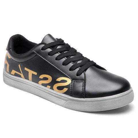 Graphic Faux Leather Sneakers - Black - 40