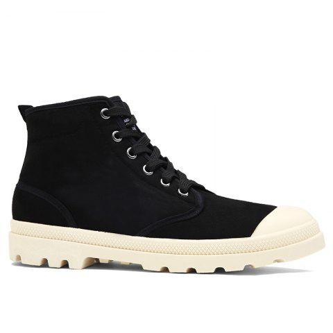 Faux Suede High-top Casual Shoes - Black - 44