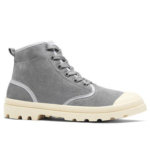Faux Suede High-top Casual Shoes - Gray - 40