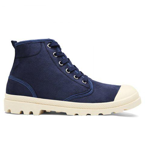 Faux Suede High-top Casual Shoes - Blue - 40