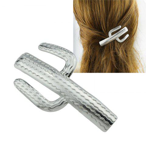 Affordable Cactus Shape Alloy Hair Clip SILVER