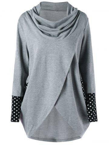 Discount Polka Dot Cowl Neck High Low Tunic Sweatshirt