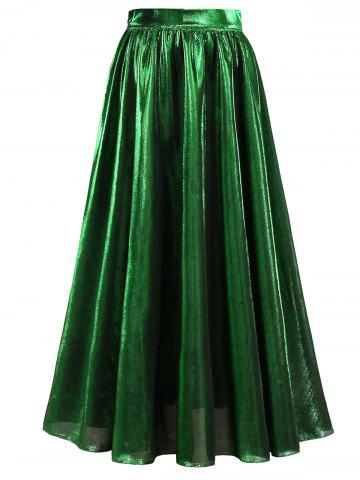 High Waist Metallic Midi Skirt - Green - S