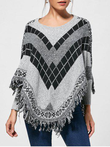Fringed Batwing Graphic Poncho Sweater - Colormix - One Size