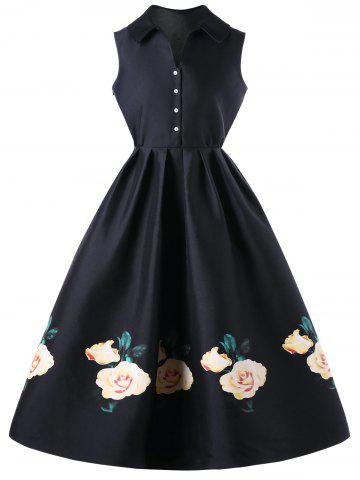 Fashion Floral Single Breasted Sleeveless Knee Length Dress BLACK M