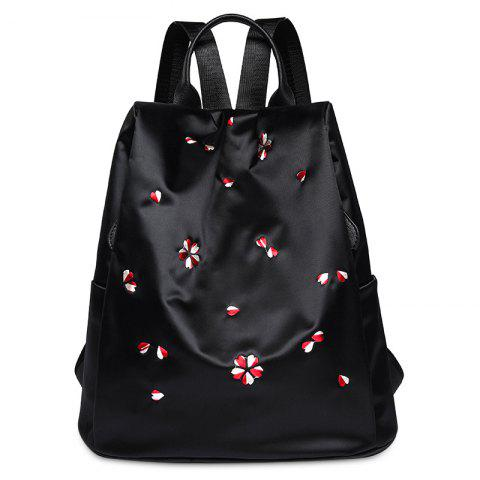 Fancy Zippers Embroidered Nylon Backpack