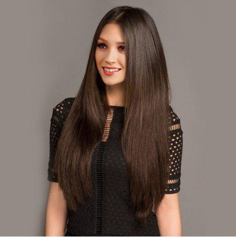 Long Middle Part Straight Heat-Resistant Synthetic Wig - Brown