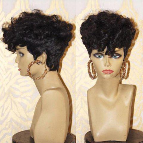 Shops Short Inclined Bang Shaggy Layered Afro Curly Synthetic Wig - BLACK  Mobile