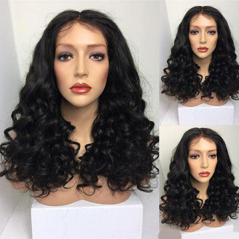 Long Middle Part Fluffy Curly Synthetic Wig - Black
