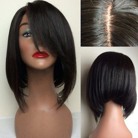 Short Sideswept Part Glossy Straight Inverted Bob Synthetic Wig - Black