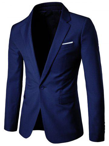 Outfit Chest Pocket One Button Business Blazer - 2XL DEEP BLUE Mobile