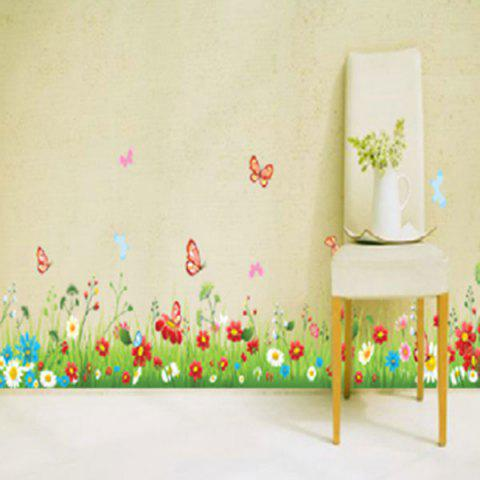 Outfits Grass Flower Butterfly Decorated Wall Sticker - GREEN  Mobile
