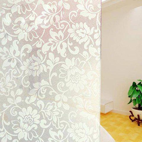 Best PVC Electrostatic Flower Glass Wall Decal WHITE