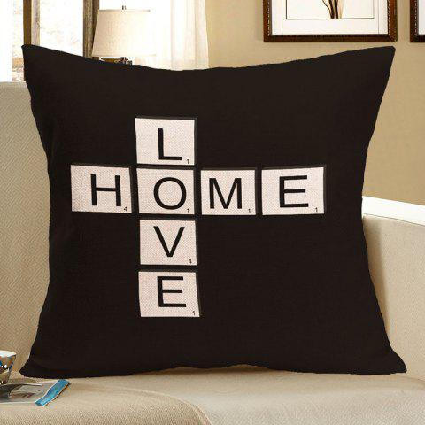 Unique Love Home Printed Square Decorative Pillow Case - W18 INCH * L18 INCH BLACK Mobile