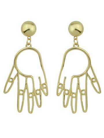 Funny Metal Ball Hand Earrings - Golden