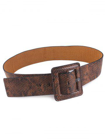 New Faux Leather Rectangle Pin Buckle Snakeskin Belt - BROWN  Mobile