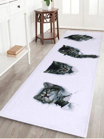 Home Entrance Cute Cats Coral Velvet Rug Blanc Largeur 16 pouces*Longueur 47 pouces