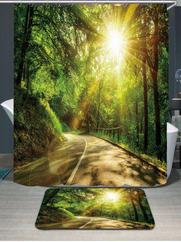 Waterproof Sunshine Forest Printed Shower Curtain and Rug - Green - W79 Inch * L71 Inch