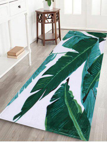 Unique Indoor Outdoor Watercolor Leaves Pattern Area Rug - W16 INCH * L47 INCH GREEN Mobile