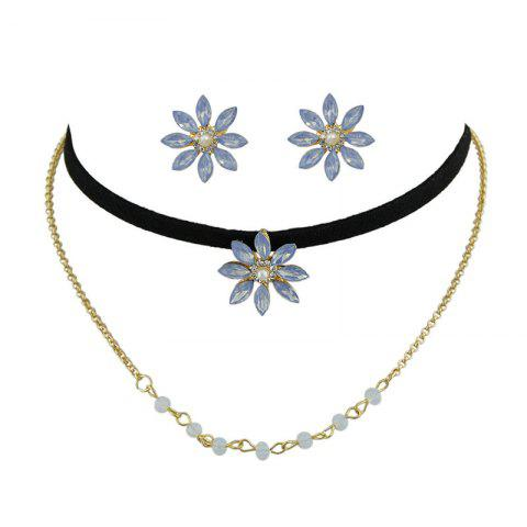 Outfit Rhinestone Flower Choker Necklace and Earrings - GOLDEN  Mobile