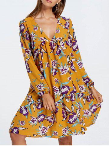 V Neck Print Long Sleeve Dress - Yellow - Xl