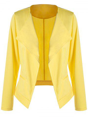 Plus Size Waterfall Blazer - Yellow - 5xl