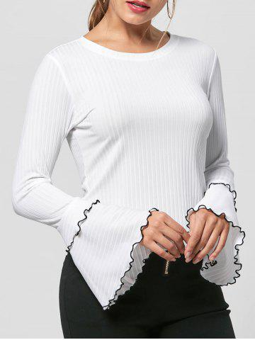 Striped Layered Flare Sleeve Knit Top - White - L