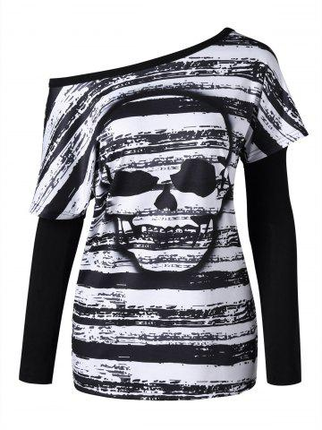Skull Pattern T-shirt with Oversleeves - Black White - 2xl