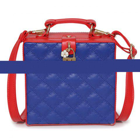 Box Shaped Quilted Crossbody Bag - Blue