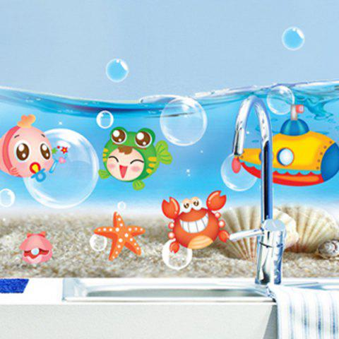Cartoon Animal Sea World Wall Sticker Bleu