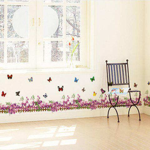 Store Flower Butterfly Fence Decorated Wall Sticker PURPLISH RED