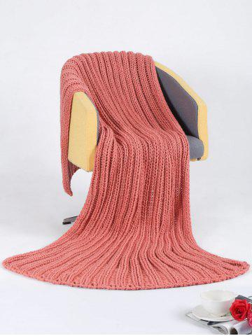 Chunky Knitted Super Large Throw Blanket - Peach Red - 116*200cm